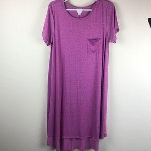 LuLaRoe women's L marled pink s/s dress